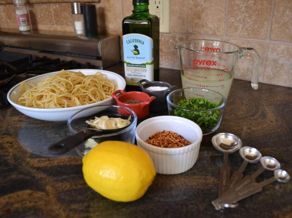 Mise en Place for Spaghetti Aglio e Olio