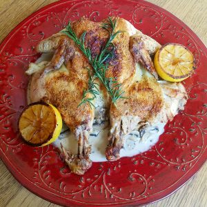 Brick Chicken with Creamy Mushroom Sauce and Charred Lemons