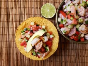 Shrimp Ceviche served on tostada