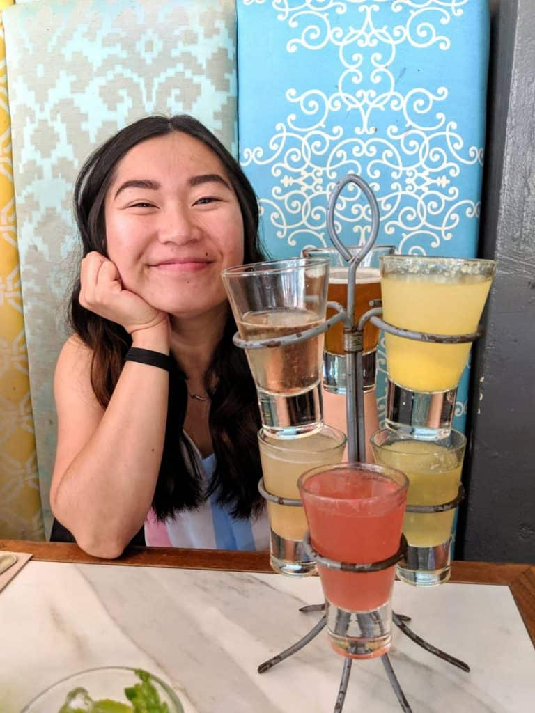 Ann with Mimosa Flight at Cafe 21 in Gaslamp