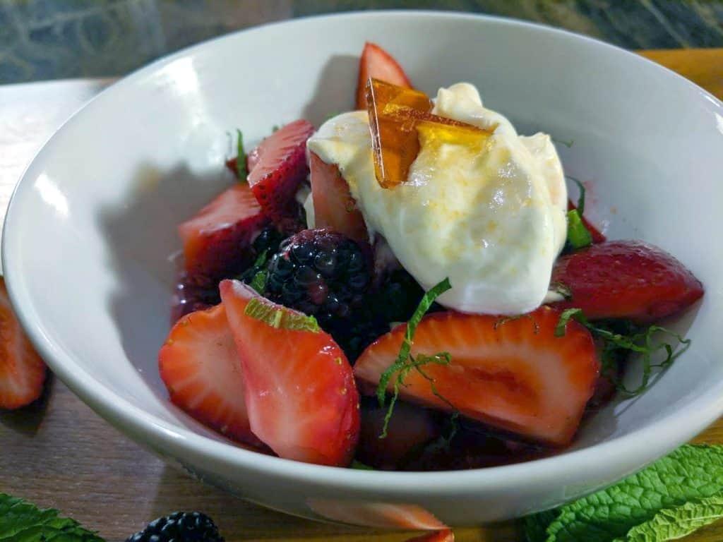 Upclose shot of Berries & Cream