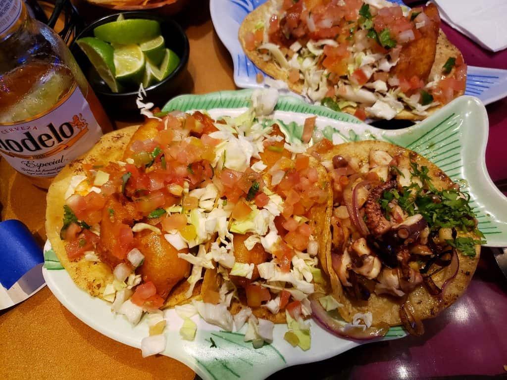 Plate of assorted tacos at Mariscos El Pulpo in Gaslamp