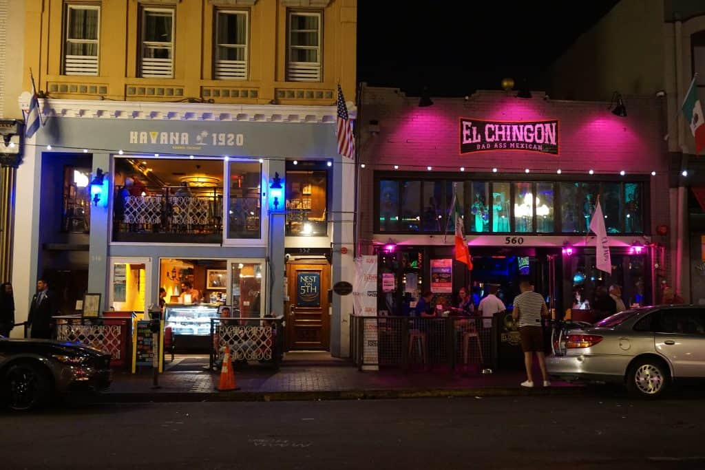 Exterior picture of Nest on Fifth entrance betwen Havana 1920 and El Chingon in Gaslamp