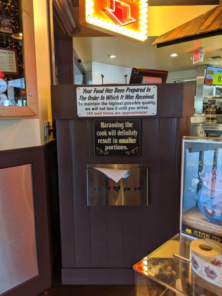 Funny sign at Phil's BBQ