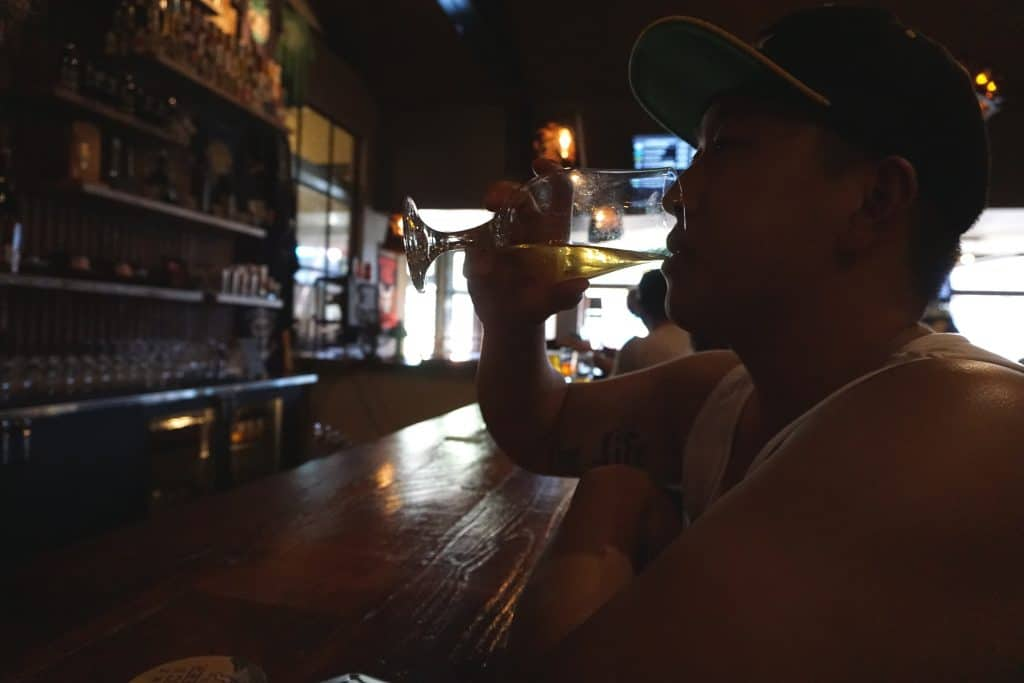 Dan drinking his first brewery beer in Gaslamp at Stone Brewing Tap Room