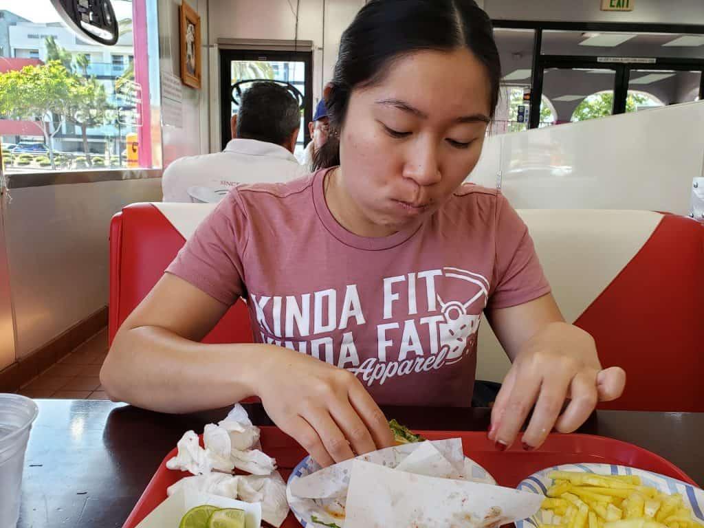 Ann eating tacos