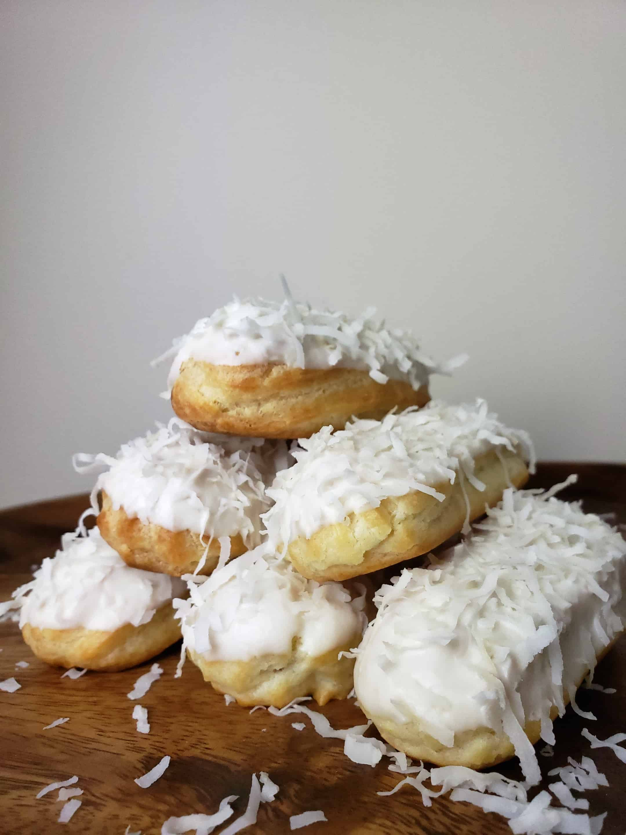 White Chocolate Coconut Eclairs