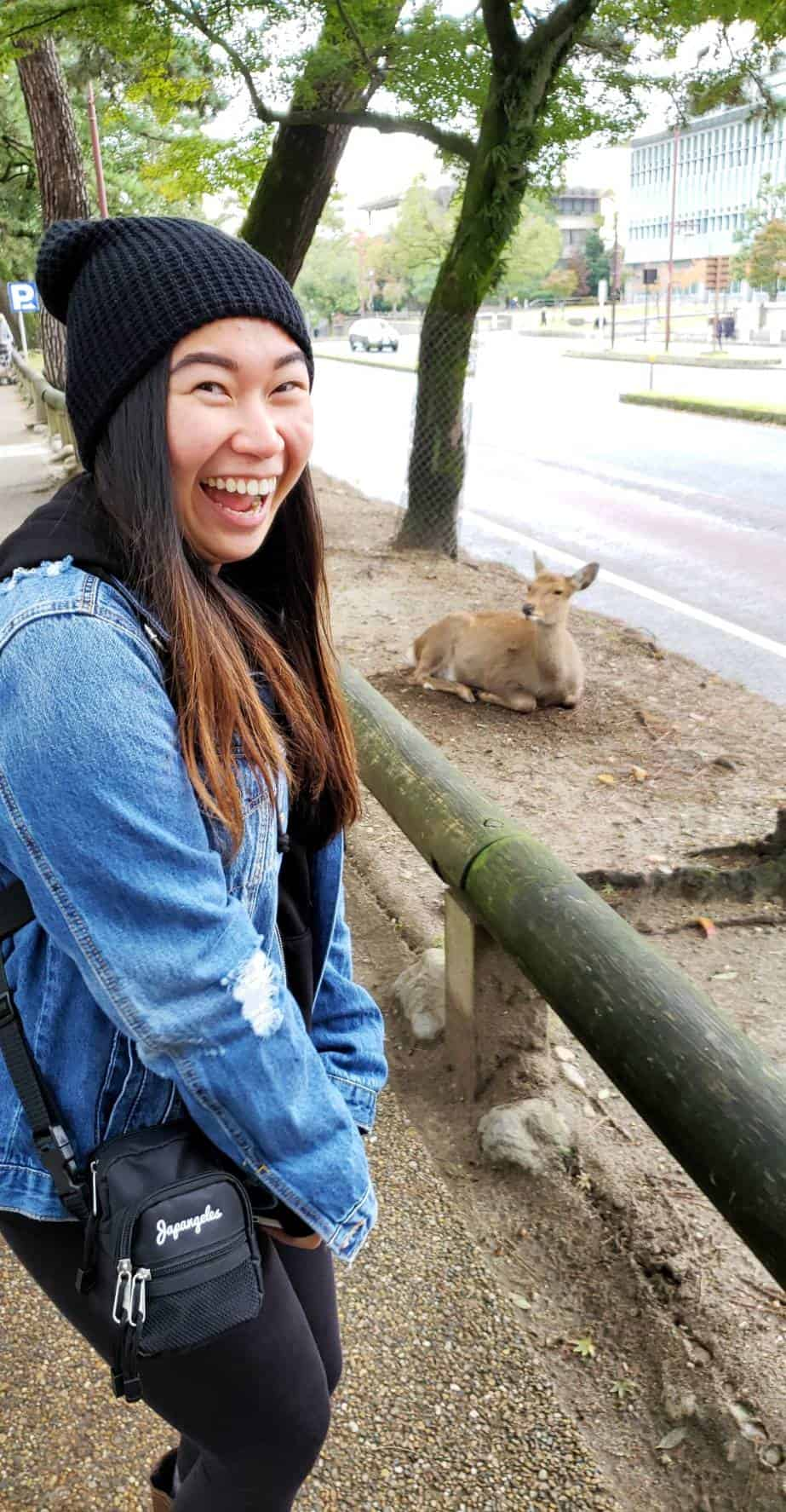 Ann with Nara deers