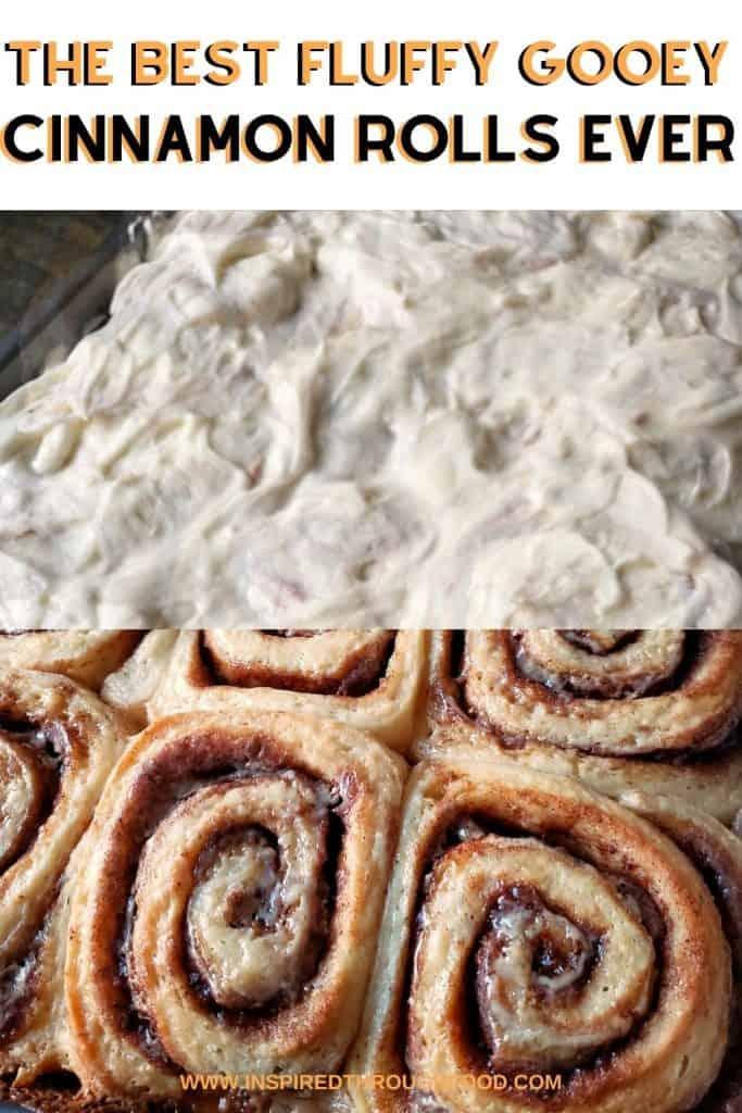 Fluffy Gooey Cinnamon Rolls with frosting