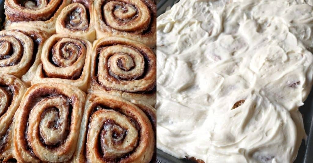 Cinnamon rolls with and without cream cheese frosting